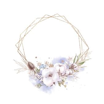 Conjunto de flores de algodón en un marco dorado. ilustración acuarela