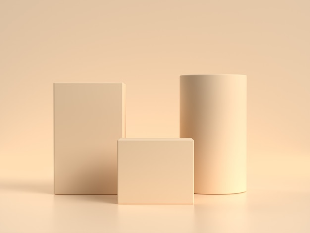 Conjunto de forma geométrica podio en blanco estante crema / escena amarilla suave representación 3d