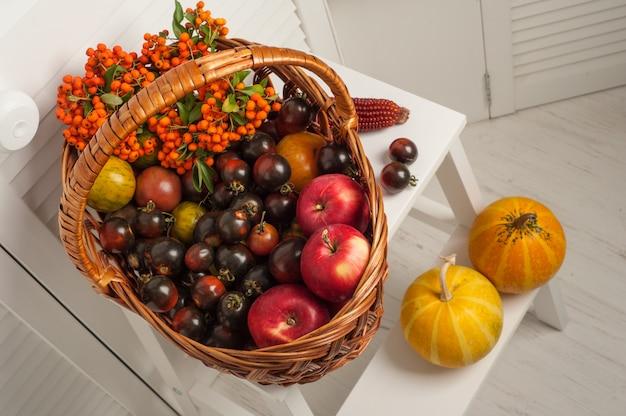 Conjunto de frutas y verduras de acción de gracias