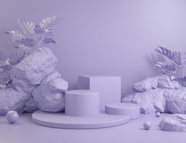 Conjunto geométrico abstracto podios violetas con fondo de roca y plantas render 3d