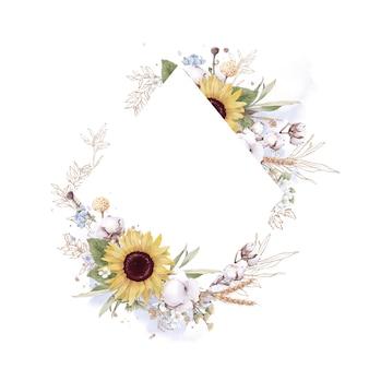 Conjunto de girasol en un marco dorado. ilustración de acuarela.