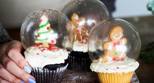 Conjunto de globos de nieve de la magdalena de navidad