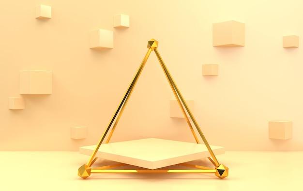 Conjunto de grupo de formas geométricas abstractas, fondo beige, jaula dorada, representación 3d, escena con formas geométricas, fondo con cubos, pedestal cuadrado dentro de la pirámide dorada