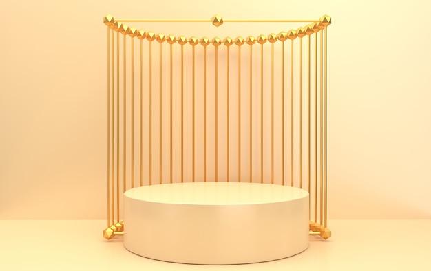 Conjunto de grupo de formas geométricas abstractas, fondo beige, jaula dorada, representación 3d, escena con formas geométricas, pedestal de mármol redondo dentro del marco dorado, cortina de metal en el fondo