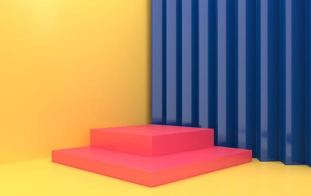 Conjunto de grupo de formas geométricas abstractas, fondo de estudio amarillo, pedestal rosa rectangular, representación 3d, escena con formas geométricas, escena minimalista de moda, diseño simple y limpio