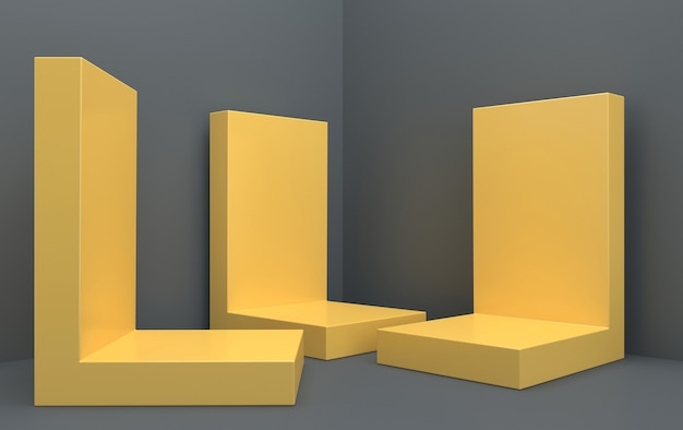 Conjunto de grupo de formas geométricas abstractas, fondo de estudio gris, pedestal de rectángulo amarillo, representación 3d, escena con formas geométricas, escena minimalista de moda, diseño simple y limpio