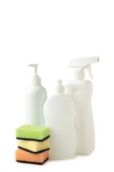 Conjunto de herramientas de limpieza aisladas. vista superior