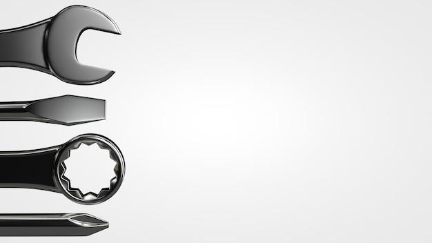 Un conjunto de herramientas: llaves, destornilladores. tema de mantenimiento.