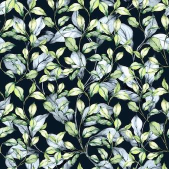 Conjunto de hierba y hojas verdes de acuarela.