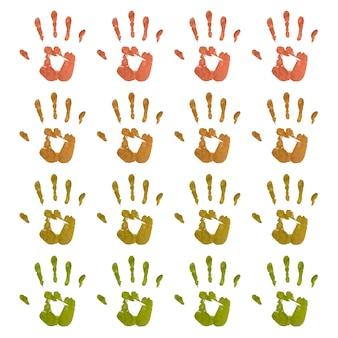 Conjunto de huellas de manos coloridas