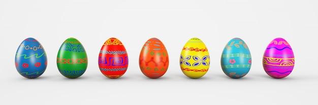 Conjunto de huevos realistas en el fondo blanco. ilustración de renderizado 3d.