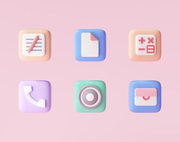 Conjunto de iconos 3d de smartphone, iconos de aplicaciones mínimas. representación 3d