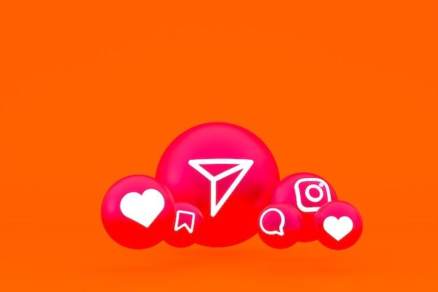 Conjunto de iconos de instagram render 3d sobre fondo naranja