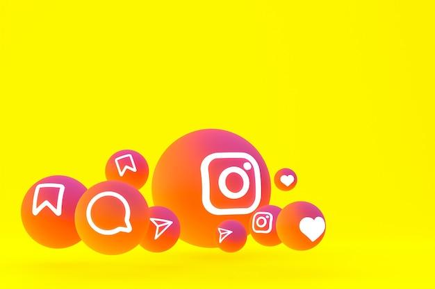 Conjunto de iconos de instagram representación 3d sobre fondo amarillo