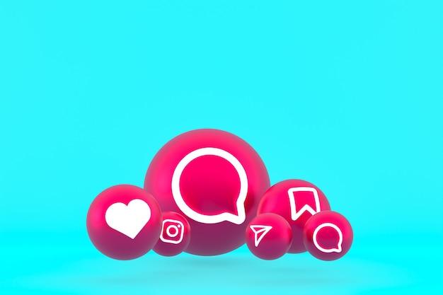 Conjunto de iconos de instagram representación 3d sobre fondo azul