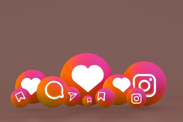 Conjunto de iconos de instagram representación 3d sobre fondo marrón