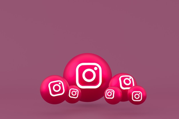 Conjunto de iconos de instagram representación 3d sobre fondo rojo