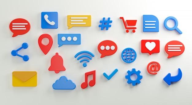 Conjunto de iconos de redes sociales representación 3d