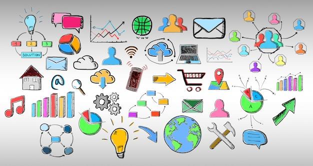 Conjunto de iconos web dibujados a mano