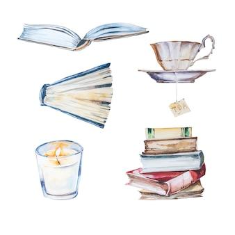 Conjunto de imágenes prediseñadas de libros pintados a mano de acuarela.