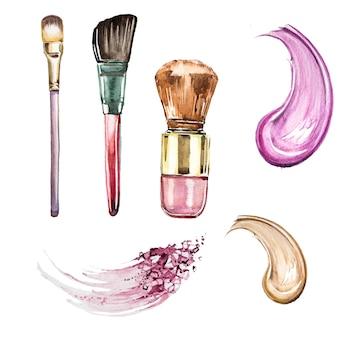 Conjunto de imágenes prediseñadas de maquillaje acuarela pintada a mano. diseño de negocios de belleza. ilustración de cosmetología
