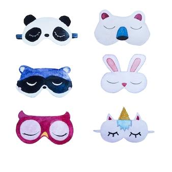 Conjunto de imágenes prediseñadas de máscara de ojo acuarela aislado. ilustración de diseño de fiesta de spamber.