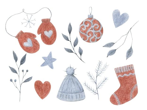 Conjunto de imágenes prediseñadas de navidad de año nuevo aislado en ilustraciones de navidad de lápices de color blanco en estilo scandi