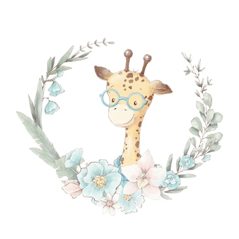 Conjunto de jirafa de dibujos animados lindo en una taza. ilustración de acuarela.