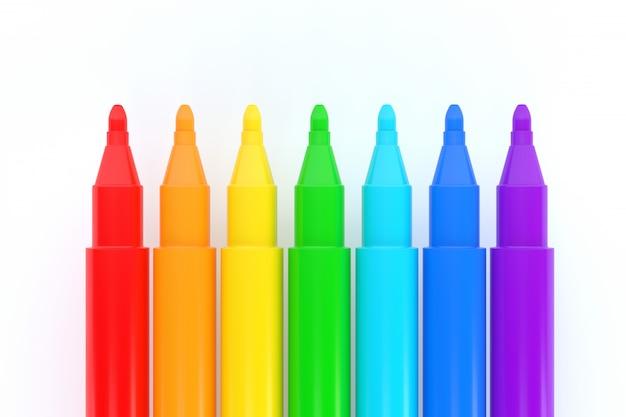 Conjunto de lápices de colores aislados sobre fondo blanco ilustración 3d