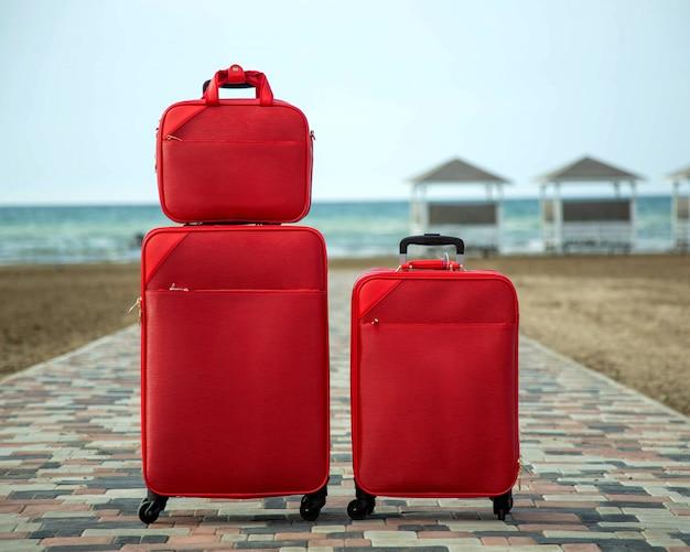 Conjunto de maletas y bolsos rojos