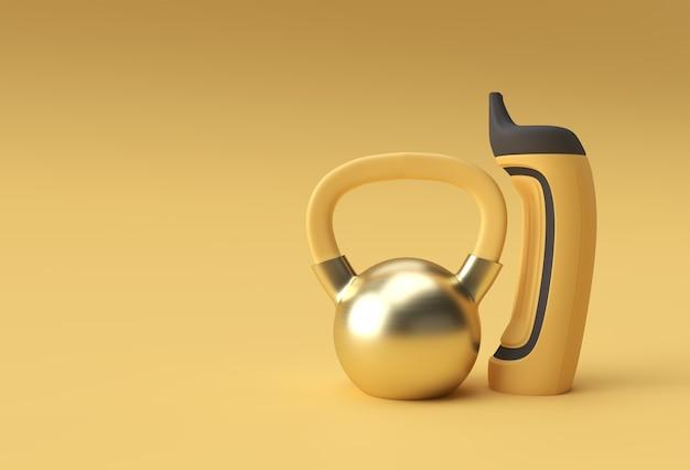 Conjunto de mancuernas de renderizado 3d, vista cercana detallada realista elemento deportivo aislado de diseño de mancuernas de fitness.