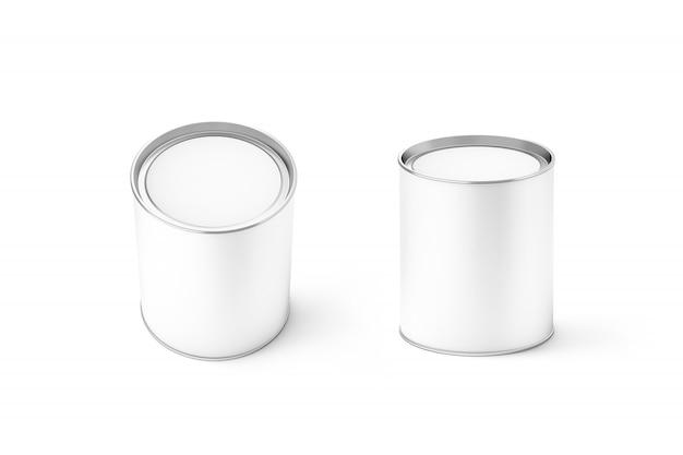 Conjunto de maqueta de lata blanca redonda en blanco, aislado