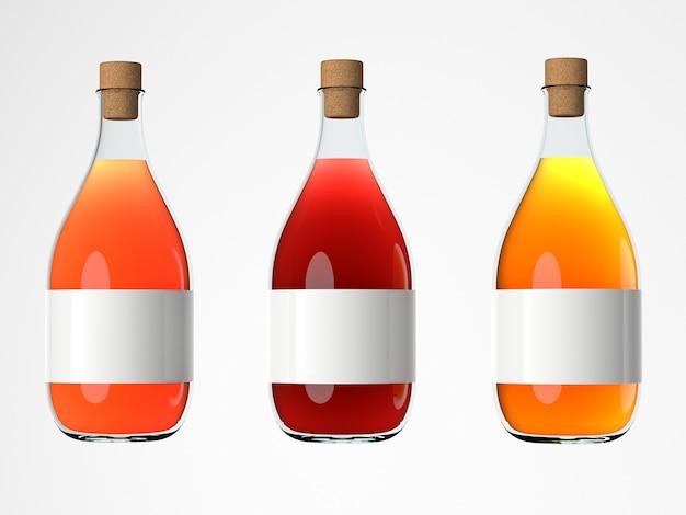 Conjunto de maquetas de botellas de vino