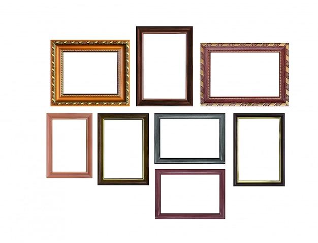 Conjunto de marcos vacíos con espacio libre en el interior, aislado en blanco