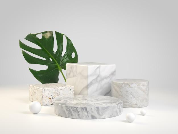 Conjunto de mármol de la colección de lujo podium con la planta de monstera render 3d