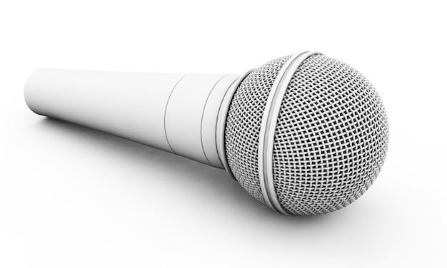 Conjunto de micrófono en blanco. ilustración de render 3d aislado sobre fondo blanco. concepto de altavoz y karaoke.