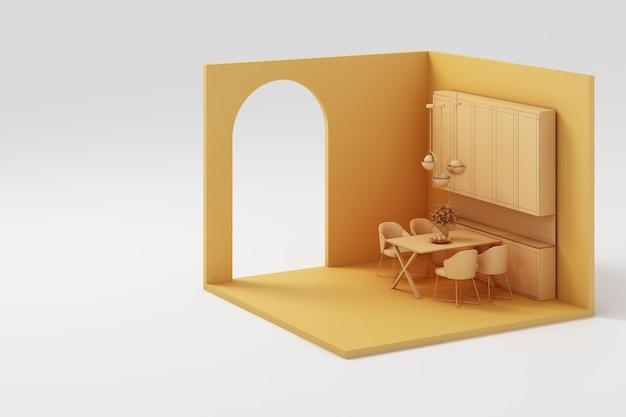 Conjunto de muebles amarillos simulacro y representación isométrica de pared 3d
