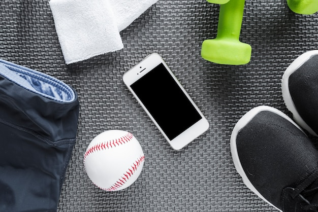Conjunto de objetos de estilo de vida saludable y teléfono inteligente