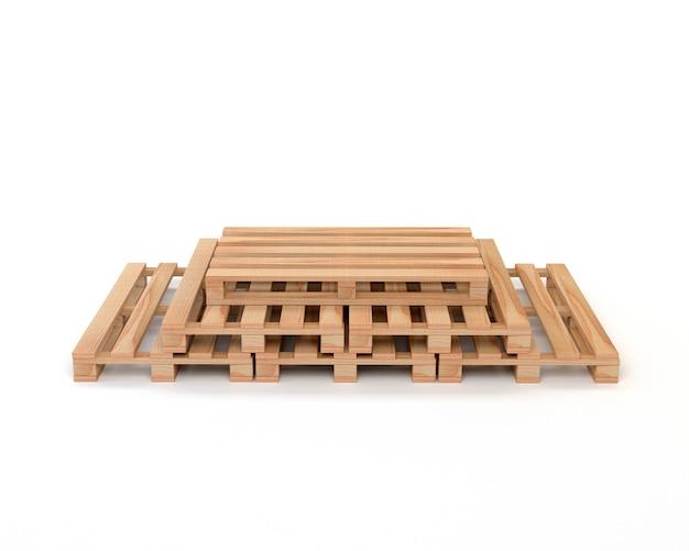 Un conjunto de paletas de madera para el transporte y almacenamiento de carga / mercancías aisladas sobre fondo blanco. 3d ilustración