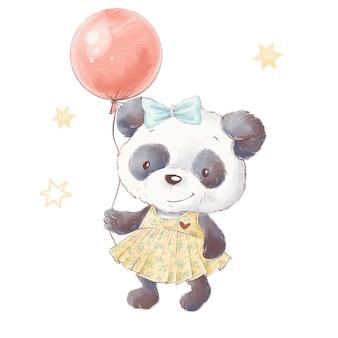 Conjunto de panda de dibujos animados lindo. ilustración acuarela