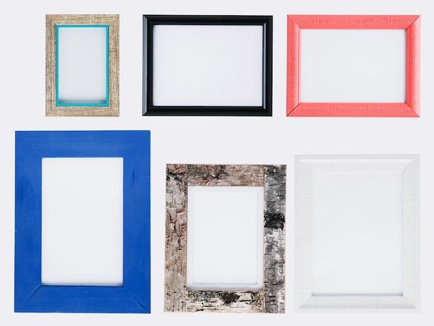 Conjunto plano endecha de coloridos marcos minimalistas.