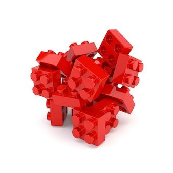 El conjunto del plástico rojo bloquea al constructor aislado en el fondo blanco. 3d ilustración