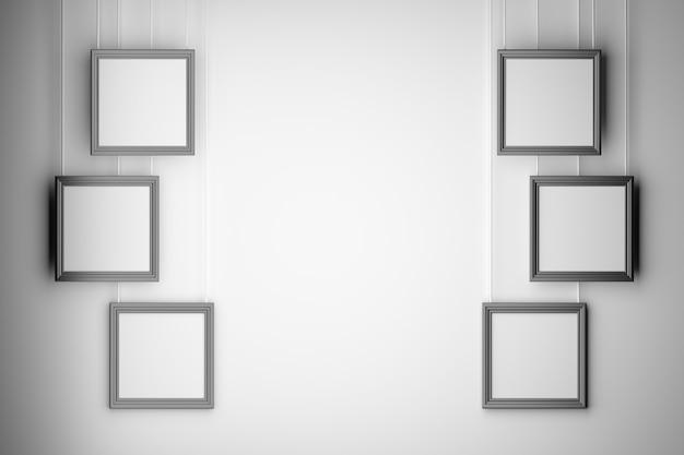 Conjunto de seis cuadros de la foto de la presentación en blanco vacía maqueta dispuestos