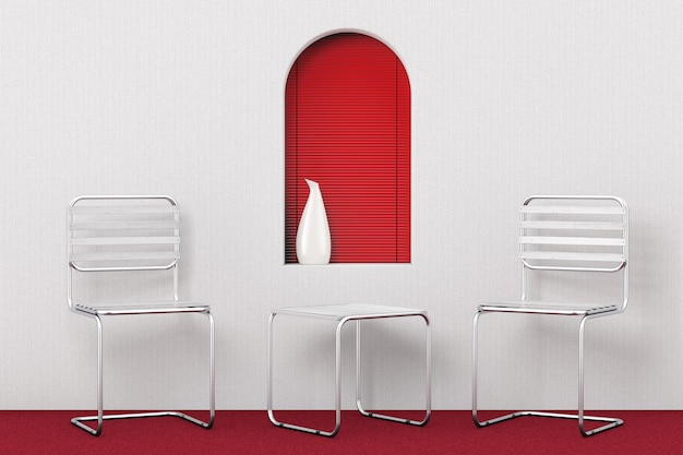 Conjunto de sillas y mesa de metal modernas con tablones de madera delante de la ventana roja en la habitación moderna. representación 3d