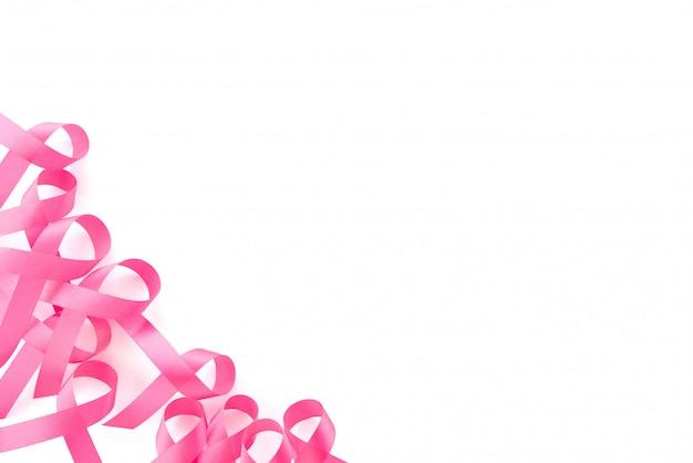 Conjunto de símbolos de cinta rosa satinada, diseño de borde, campaña de concientización sobre el cáncer de mama