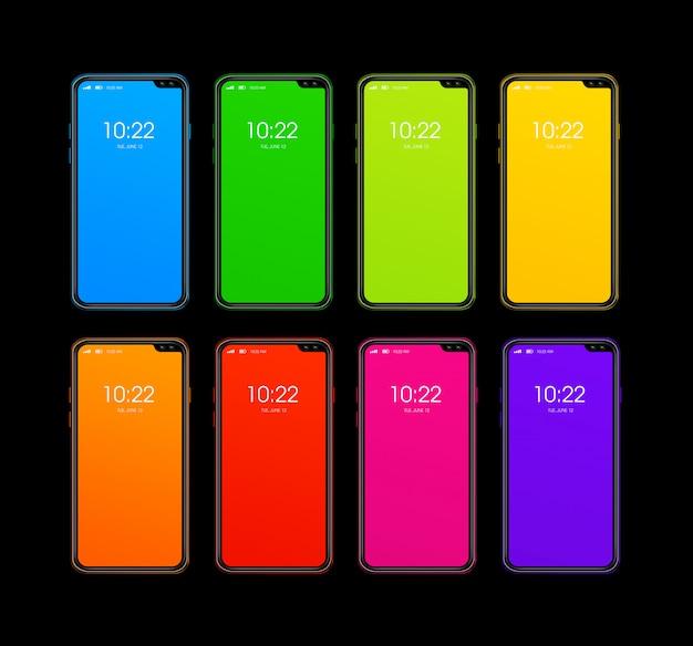 Conjunto de smartphone colorido arco iris aislado en superficie negra