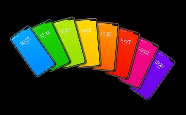 Conjunto de smartphone colorido arco iris aislado
