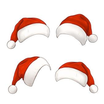 Conjunto de sombreros rojos de santa claus ilustración de sombrero de navidad