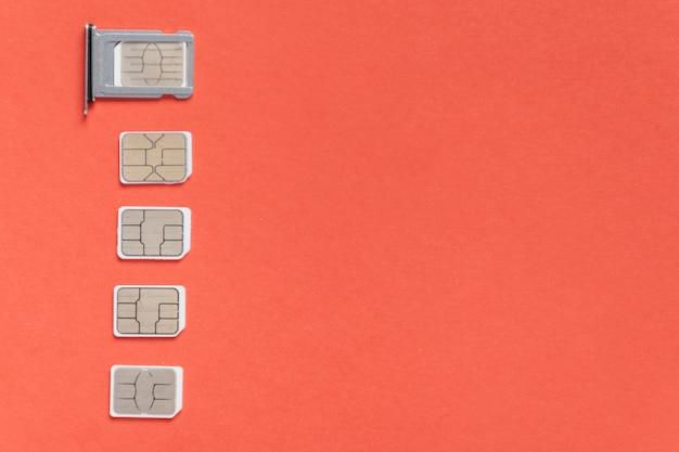Conjunto de tarjetas sim con espacio de copia