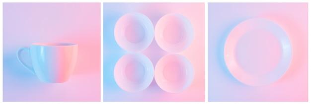 Conjunto de taza blanca; tazones y plato con luz sobre fondo rosa
